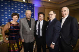 BEVERLY HILLS, CA - NOVEMBER 07: (L-R) Actor and activist Hal Linden, actor Mark Feuerstein, Abraham Foxman and Gary Barber, Chairman and CEO of Metro-Goldwyn-Mayer, during salute to Foxman  at the Anti-Defamation League (ADL) 2014 Annual Meeting at The Beverly Hilton November 07, 2014 in Beverly Hills, California. (Photo by Kevork Djansezian/Getty Images)