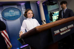 WASHINGTON, DC - OCTOBER 27: Natalynn Parkinson, dressed as Star Wars character Princess Leia, stands at the lectern following the daily press briefing at the White House, October 27, 2017 in Washington, DC. (Drew Angerer/Getty Images)