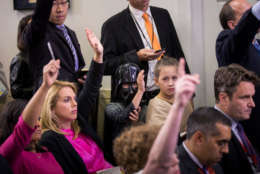 WASHINGTON, DC - OCTOBER 27: Children of journalists dressed in Halloween costumes attend the daily press briefing at the White House, October 27, 2017 in Washington, DC. (Drew Angerer/Getty Images)