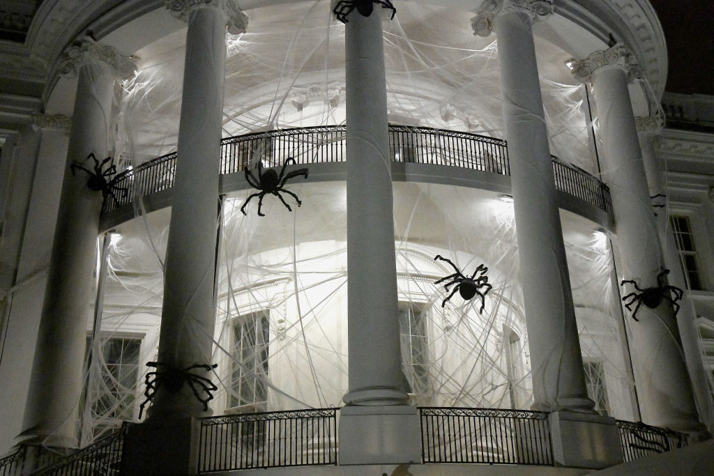 WASHINGTON, DC - OCTOBER 28: The South Portico of the White House is covered in decorations for Halloween, October 28, 2017 in Washington, DC. (Photo by Olivier Douliery-Pool/Getty Images)