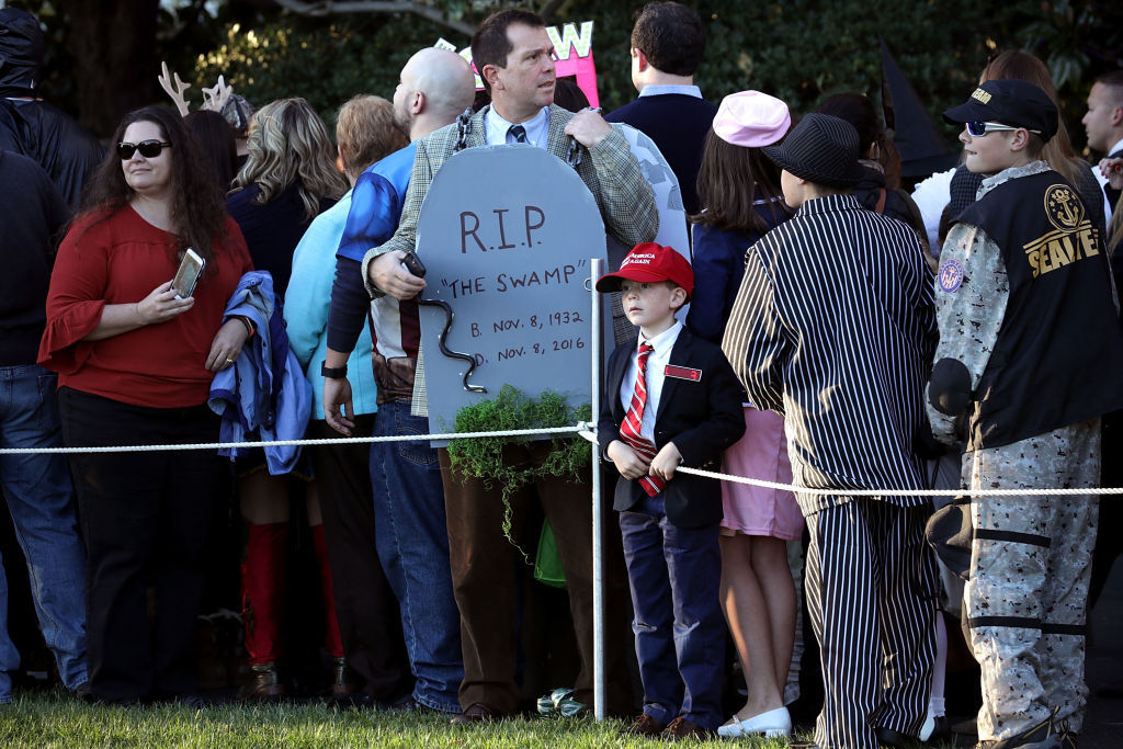 WASHINGTON, DC - OCTOBER 30:  Guests attend Halloween at the White House on the South Lawn October 30, 2017 in Washington, DC. President Donald Trump and first lady Melania Trump gave cookies away to costumed trick-or-treaters one day before the Halloween holiday.  (Photo by Chip Somodevilla/Getty Images)