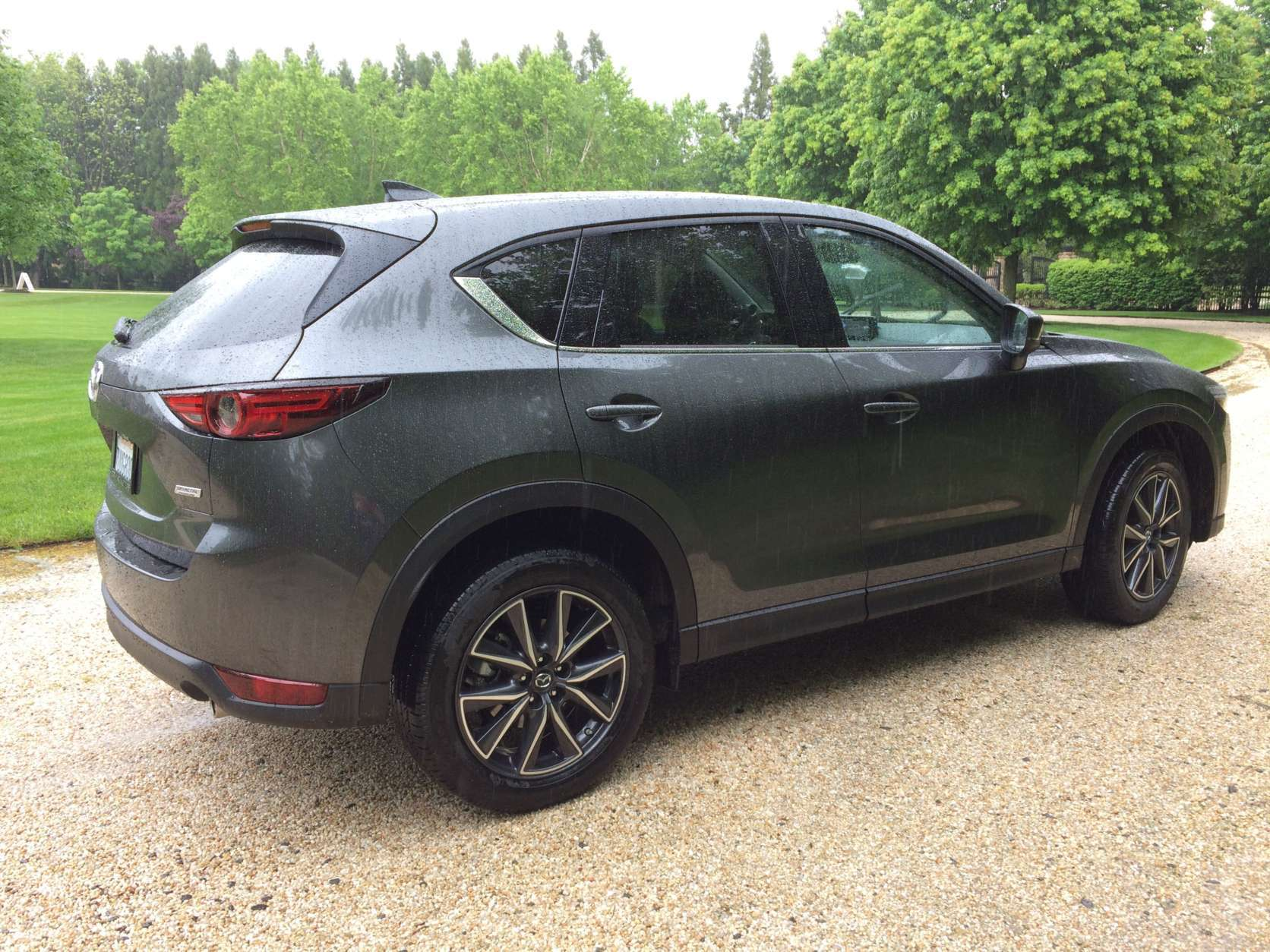 Rear styling seems to have adopted more of the new CX-9 look. Dual exhaust tips and smaller rear taillight assembly with some nice-flowing shapes offer a minimal yet stylish look for this segment. (WTOP/Mike Parris)