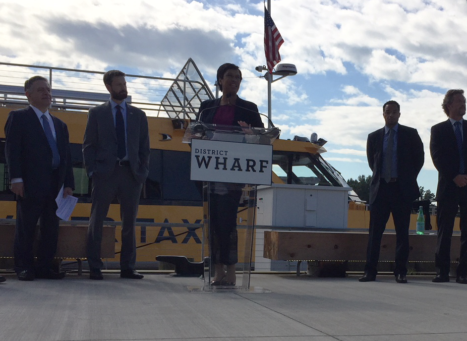 """The Water Taxi is expected to bring more than 300,000 passengers to the Wharf each and every year,"" said Mayor Muriel Bowser. ""With this new transportation option, more than 100 people will find new jobs because of the addition of this transportation option."" (WTOP/Jack Pointer)"