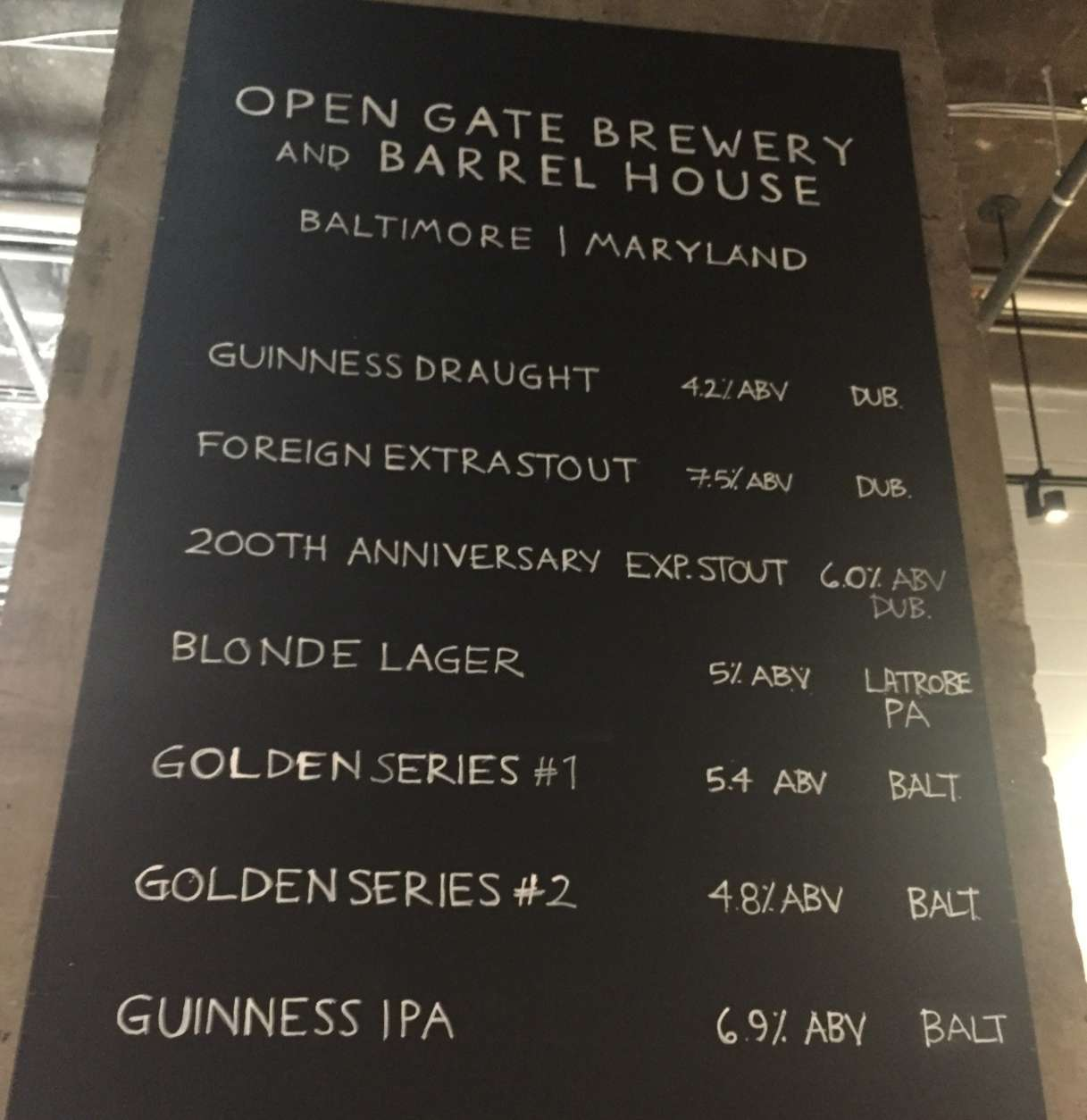 An IPA and two blondes are among the on-site offerings in the taproom. (WTOP/Jack Pointer)