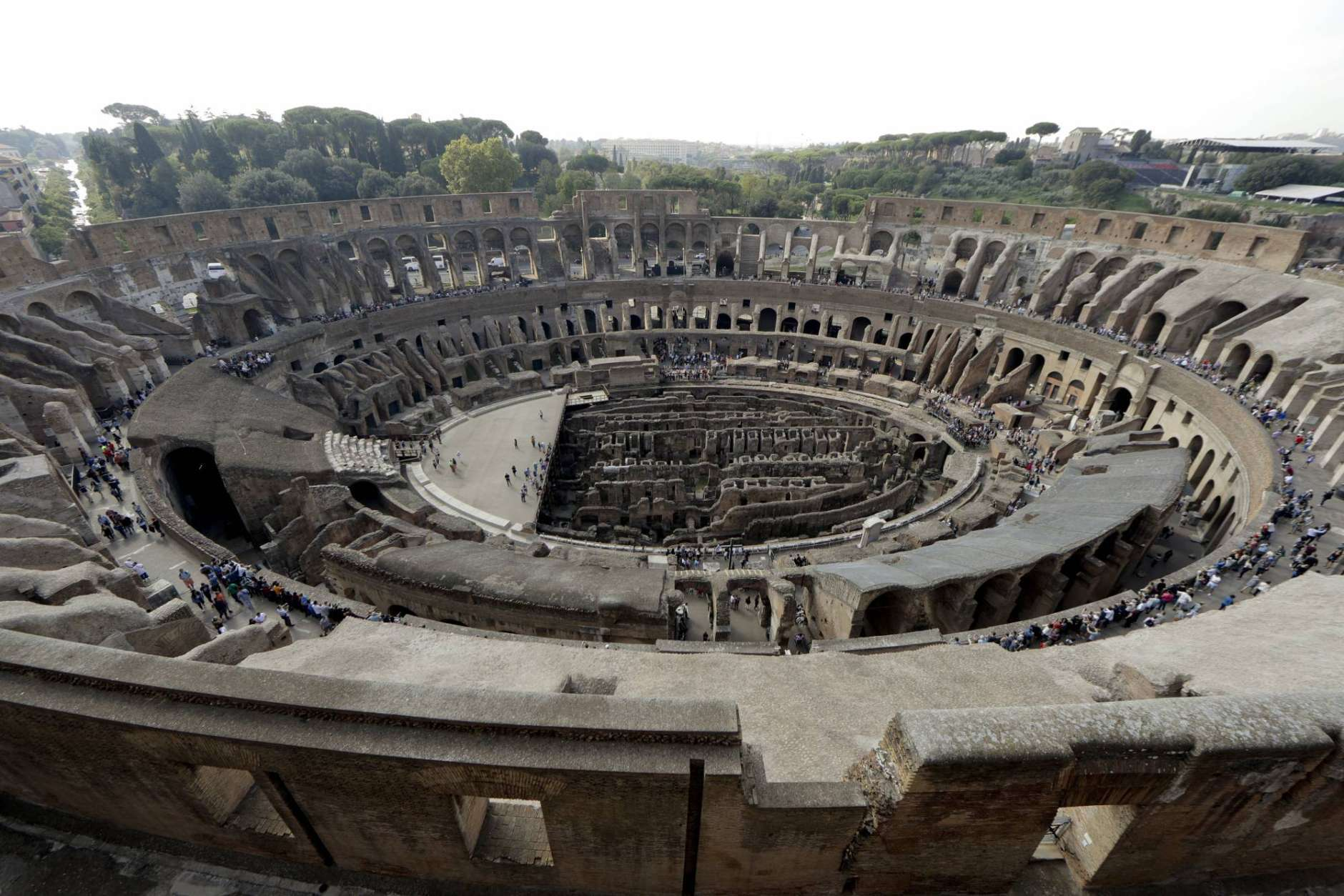 A view of the ancient Colosseum as seen from the topmost level, on the occasion of a media tour presenting the re-opening after forty years of the fourth and fifth level of the Italy's most famous site, in Rome, Tuesday, Oct. 3, 2017. Officials on Tuesday showed off the newly restored fourth and fifth levels of the Colosseum, which are opening to the public starting Nov. 1. Included in the tour is a connecting hallway that has never before been open to tourists. (AP Photo/Andrew Medichini)