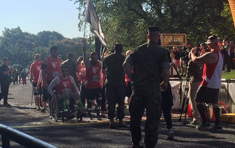 Some wounded warriors cross the finish line. (WTOP/John Domen)