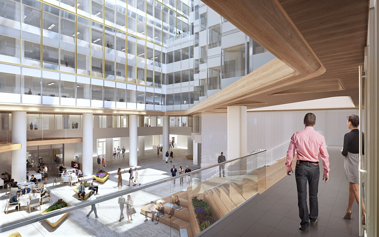 The 670,000-square-foot building will get a new lobby and atrium glass, new common areas, a fitness center, an expansive tenant lounge, a new conference facility, private event spaces, and an expansive rooftop terrace. (Courtesy of Newmark Knight Frank)