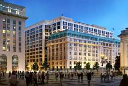 The Metropolitan Square in downtown D.C. faces a $60 million renovation in hopes to attract top-notch tenants to the property. (Courtesy of Newmark Knight Frank)