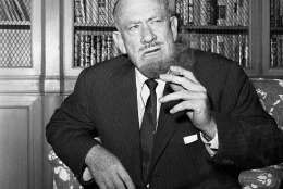 """FILE - In this Oct. 25, 1962 file photo, John Steinbeck talks to media in the office of his publisher in New York after the announcement he had been awarded the 1962 Nobel Prize in Literature. Steinbeck, best-remembered for his Great Depression tale """"The Grapes of Wrath,"""" was awarded the prize """"for his realistic and imaginative writings, combining as they do sympathetic humour and keen social perception."""" This year's winner is due to be announced on Thursday Oct. 5, 2016. (AP Photo/Anthony Camerano, File)"""