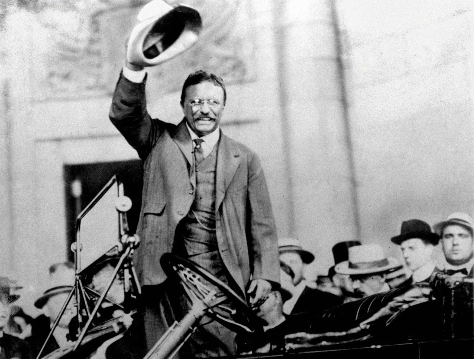 FILE - In this 1904 file photo, Theodore Roosevelt campaigns for the presidency in 1904. Roosevelt was awarded the Nobel Peace Prize in 1906 for negotiating peace in the 1904-5 war between Russia and Japan. Roosevelt, who was U.S. President for eight years from 1901, also resolved a dispute with Mexico. This year's winner is due to be announced on Friday, Oct. 6, 2017. (AP Photo, File)