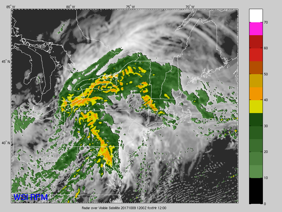 This series of images is from the hi-resolution RPM computer model, showing the remnants of Nate moving up from the south. The data depicted is future cloud cover and future radar. The center of low pressure will pass by to our north and west, through Ohio and western Pennsylvania. But the area will be close enough to get some bands of moderate to sometimes heavy rain, especially Monday morning. But by Monday afternoon the area will already start drying out on western winds sloping down the mountains. The times for the images are Monday 6 a.m., 8 a.m., 10 a.m. and skips ahead to 5 p.m. The evening rush hour won't be as slow due to the weather. (The Weather Company)