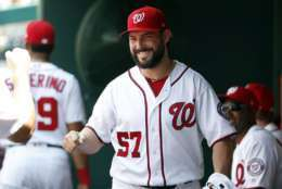 Washington Nationals starting pitcher Tanner Roark smiles in the dugout before an interleague baseball game against the Los Angeles Angels at Nationals Park Wednesday, Aug. 16, 2017, in Washington. (AP Photo/Alex Brandon)