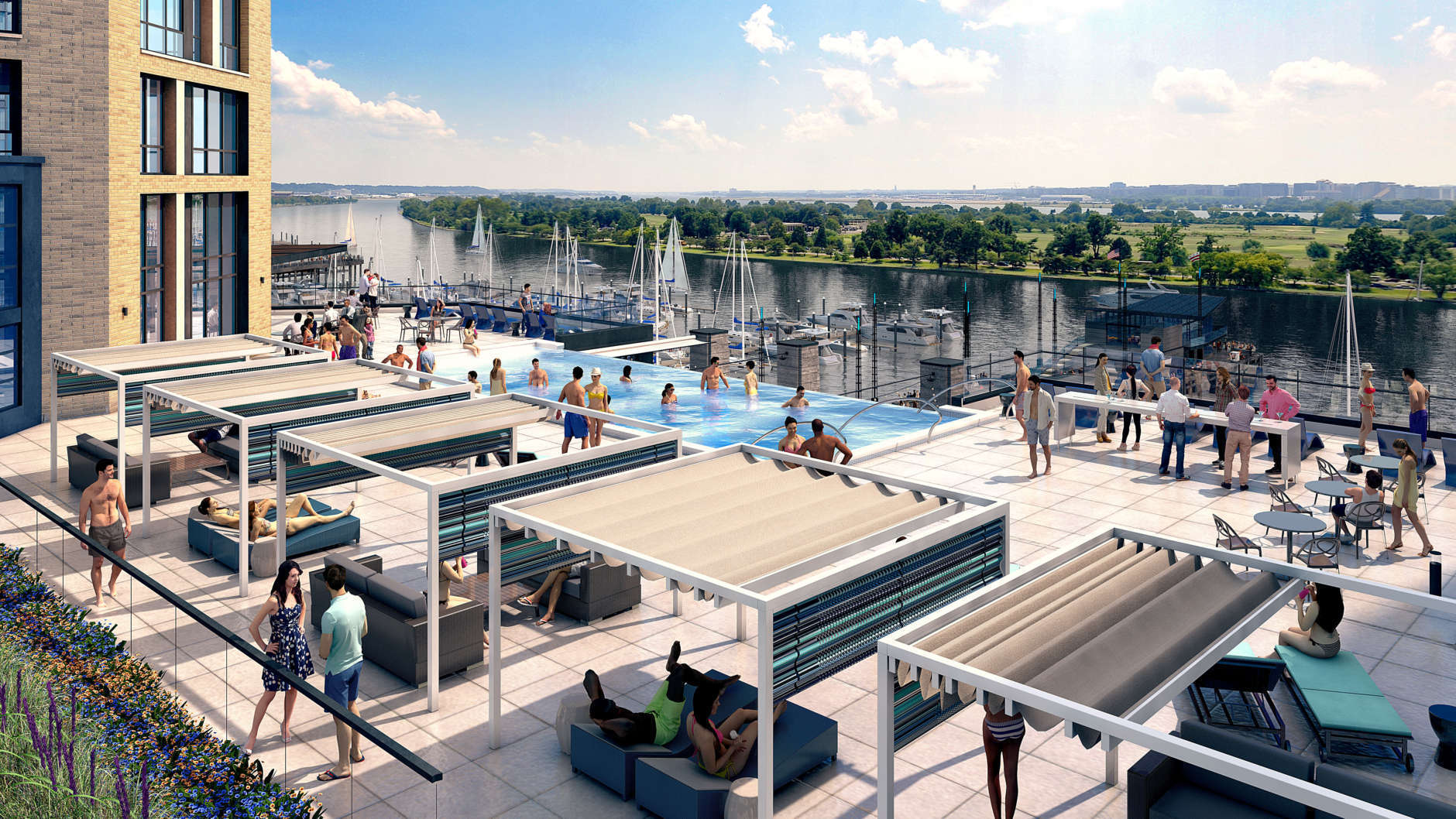 The Channel's pool deck overlooks the Potomac River. (Courtesy The Wharf)