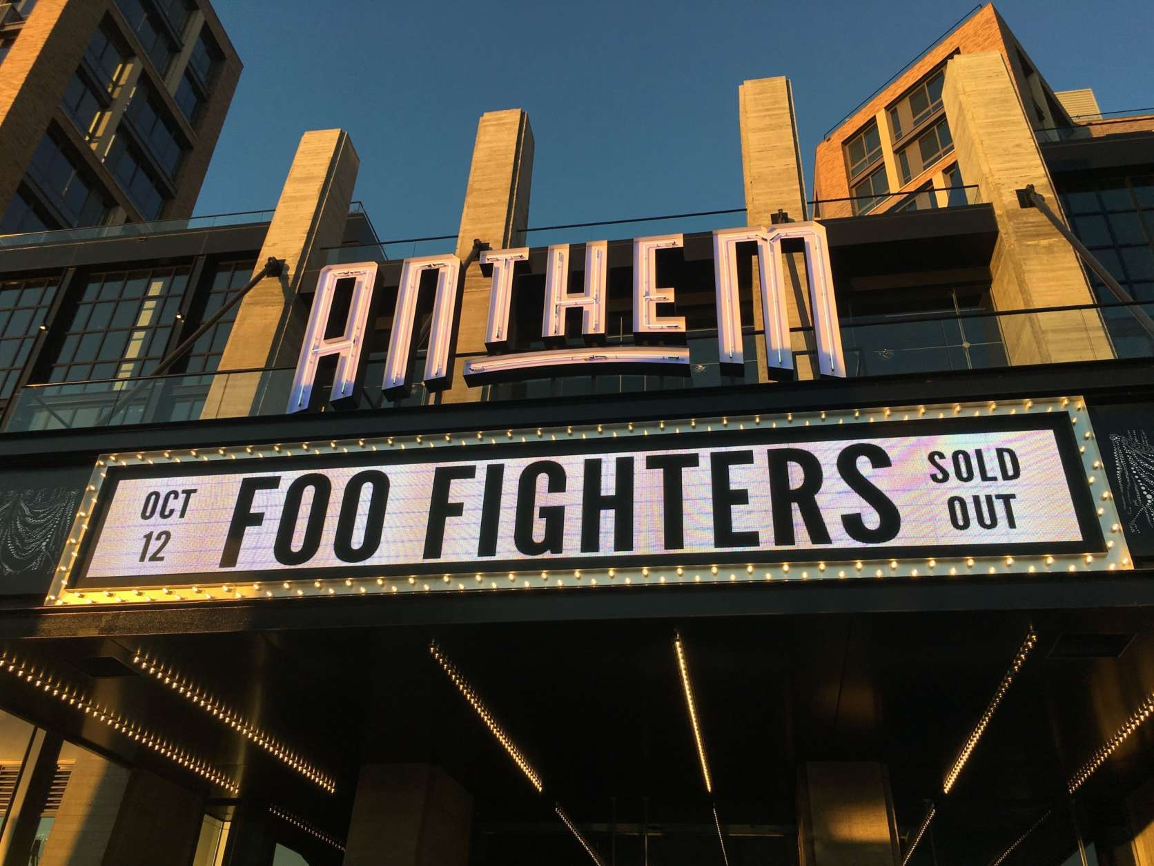 The Anthem marquee shows the opening night act, The Foo Fighters. (Audrey Fix Schaefer)