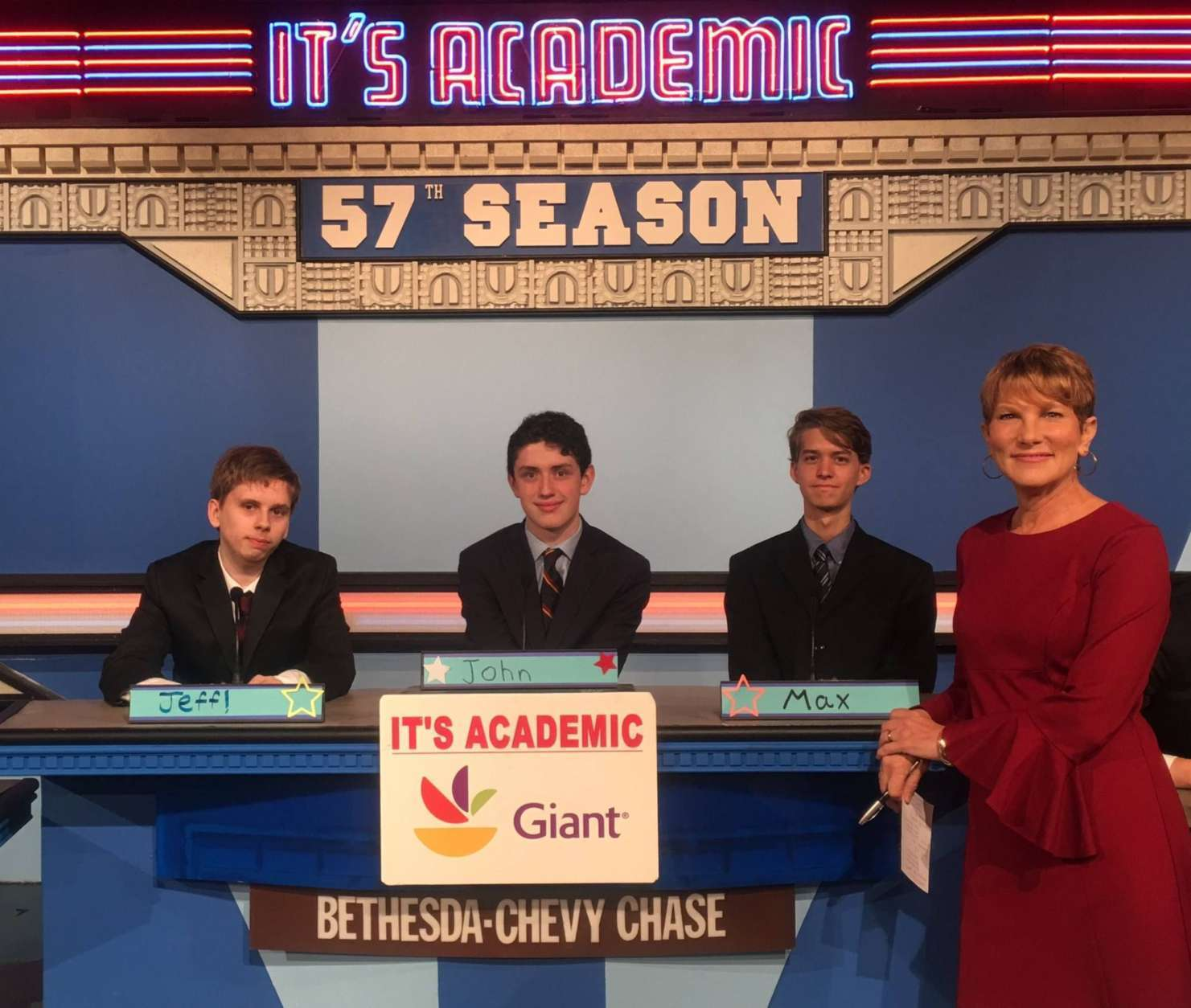 "On ""It's Academic,"" Bethesda Chevy Chase High School won against Bullis School and Wakefield High School. The show aired, Oct. 21, 2017. (Courtesy Facebook/It's Academic)"