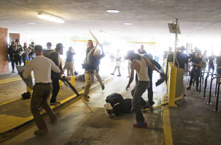 Black Man Beaten By White Men During White Supremacists in Charlottesville, Virginia