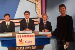 "On ""It's Academic,"" Georgetown Day won against Stonewall Jackson and Walter Johnson high schools. The show aired Dec. 30, 2017. (Courtesy Facebook/It's Academic)"