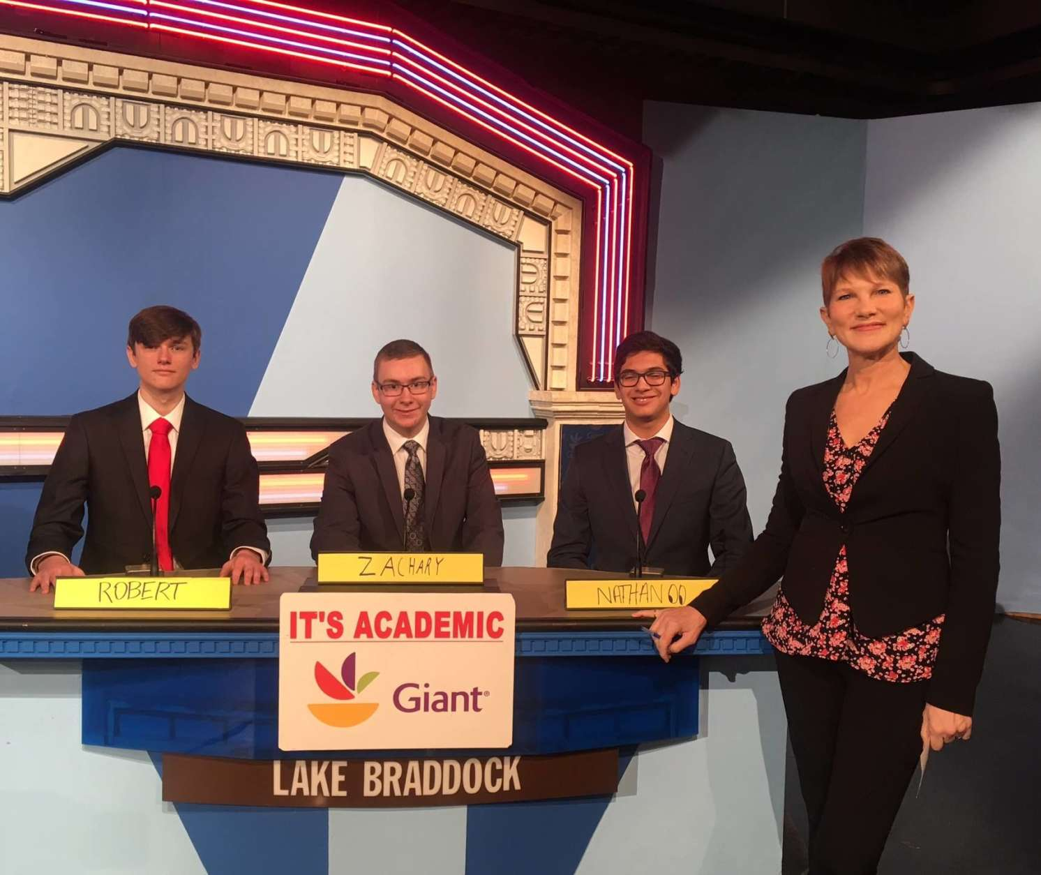"On ""It's Academic,"" Lake Braddock competed against Banneker and St. John's. The show aired Feb. 24, 2018. (Courtesy Facebook/It's Academic)"