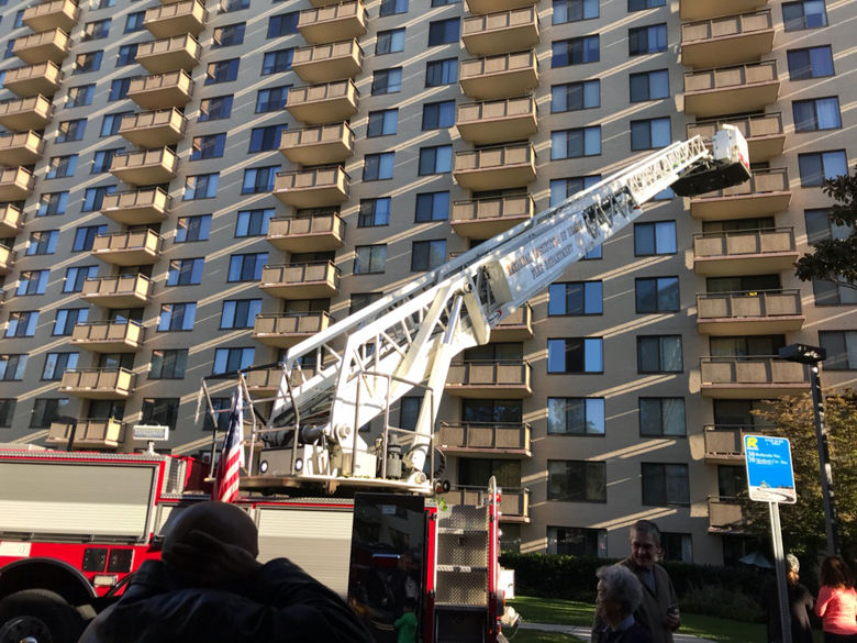 The fire occurred at a high-rise apartment building on Pooks Hill Road. (WTOP/Bruce Alan)