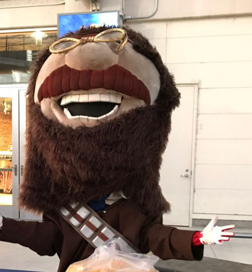 "The Washington Nationals Racing President mascot Teddy Roosevelt dresses as Chewbacca from ""Star Wars"" during a Halloween event at Nationals Park on Oct. 4, 2017. (WTOP/Michelle Basch)"