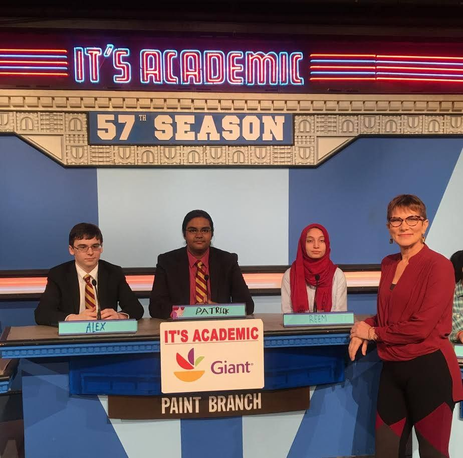 "On ""It's Academic,"" Pain Branch High competes against Sherwood and Wilson high schools. The show aired Jan. 6, 2018. (Courtesy Facebook/It's Academic)"