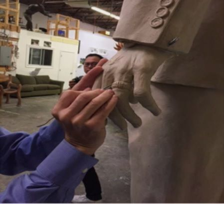 An artist at Weitzman Studios in Maryland  works on the Marion Barry statue. (Courtesy D.C. Commission on Arts and Humanities)