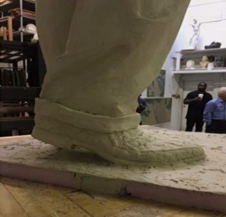 Pictures from artists at Weitzman Studios in Maryland show a full-body clay model of Barry smiling and waving, wearing a suit and snakeskin shoes. (Courtesy D.C. Commission on Arts and Humanities)