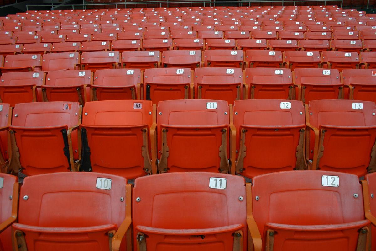 The inonic orange seats at RFK Stadium. The stadium hosts its final United game Oct. 22. (WTOP/Jack Moore)