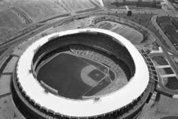 This is an air view of the District of Columbia Stadium in Washington, seen July 7, 1962.  The first 1962 All-Star game will be played here July 10. The main entrance is in the foreground. (AP Photo/Bob Schutz)