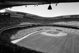 This is a general view of the jammed new Washington Stadium at the start of All Star game, July 10, 1962.  The photo was snapped with the National Leaguers at bat. (AP Photo)