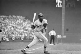 San Francisco's Wille McCovey takes the honors in All-Star game in Washington, July 23, 1969. His two home runs tied an All-Star record and helped the National League defeat the American League, 9-3. (AP Photo)