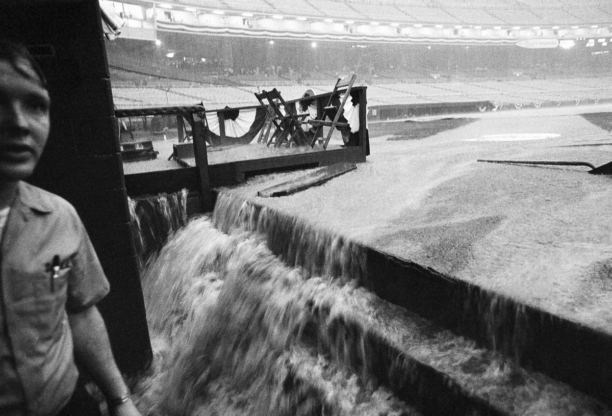 Rains pour down on RFK Stadium on July 22, 1969 in Washington, forcing postponement of the All-Star game. (AP photo)