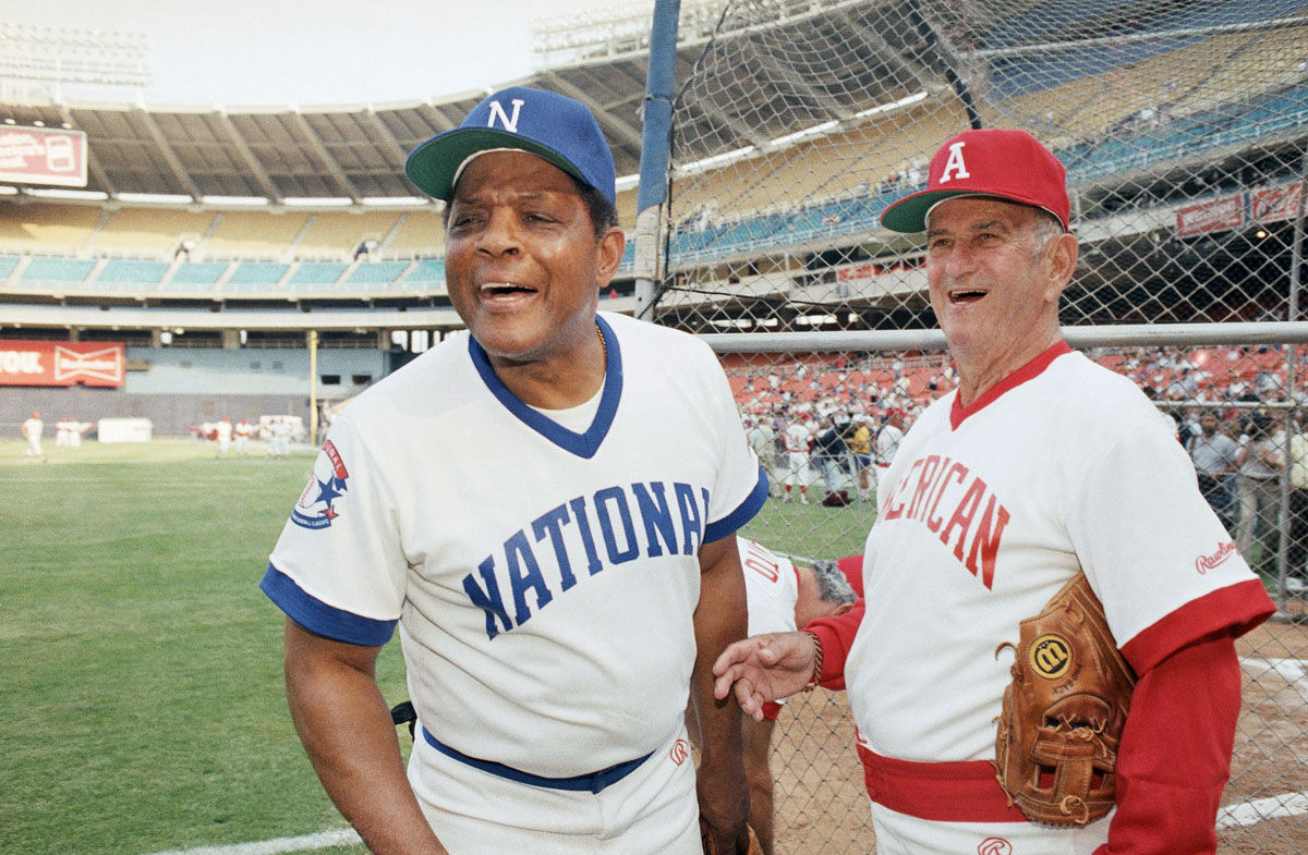 Willie Mays and Luke Appling at the Cracker Jack Old-Timers Classic in RFK Stadium, Washington, D.C