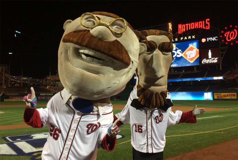 Photo of Nationals running presidents Teddy and Abe