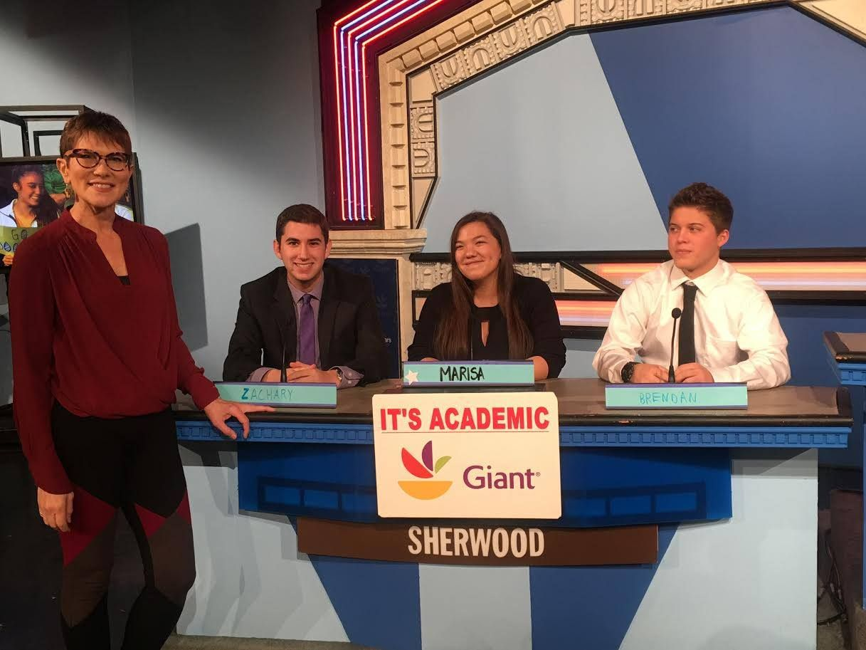 "On ""It's Academic,"" Sherwood won against Paint Branch and Wilson high schools. The show aired Jan. 6, 2018. (Courtesy Facebook/It's Academic)"