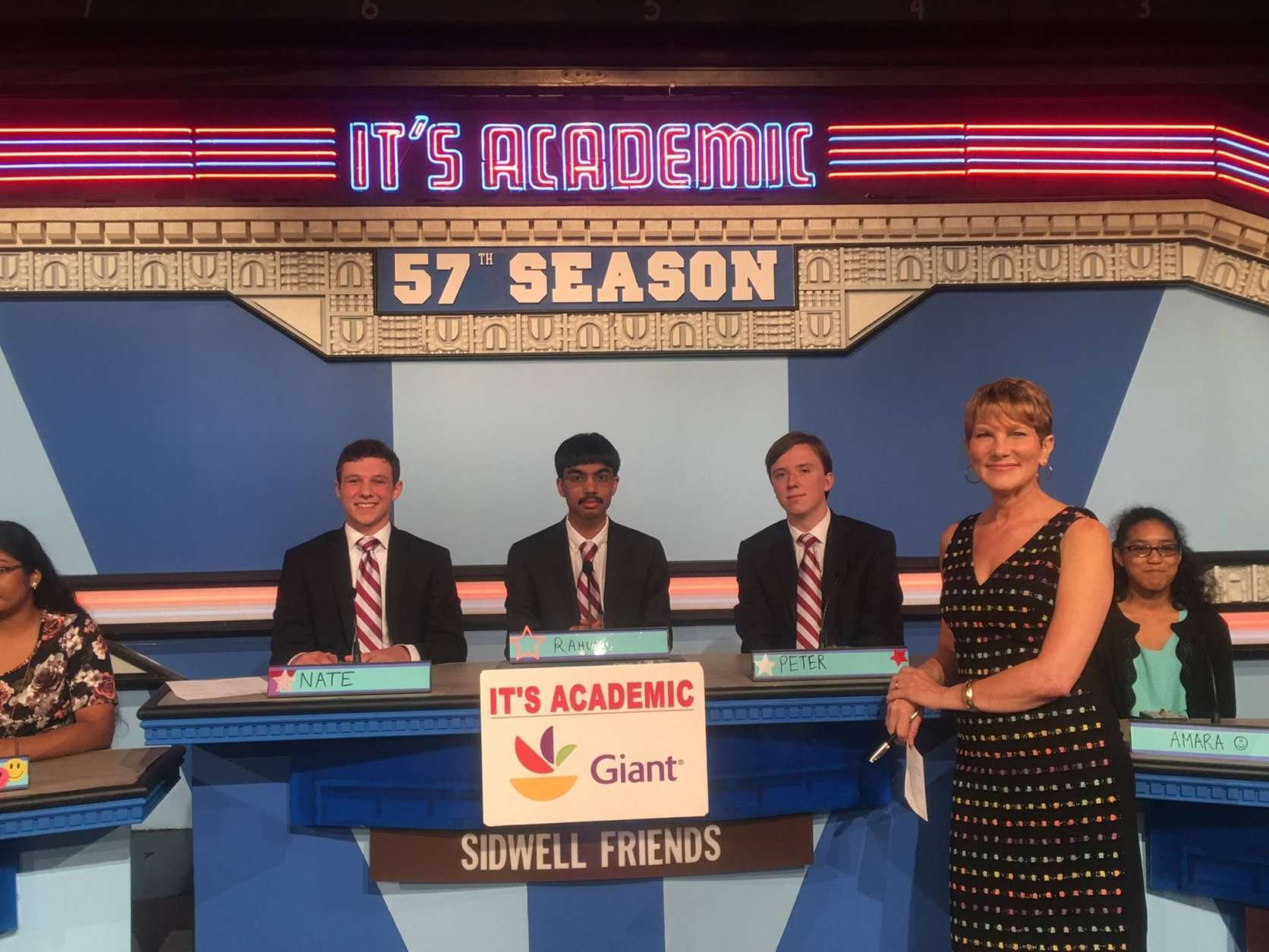 "On ""It's Academic,"" Sidwell Friends won against Falls Church and North Point high schools. The show aired, Oct. 21, 2017. (Courtesy Facebook/It's Academic)"
