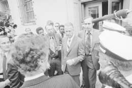 Sprio T. Agnew emerges from the federal court house in Baltimore Wednesday, Oct 10, 1973 after pleading no contest to a charge of federal tax evasion and resigning from the vice presidency. (AP Photo)