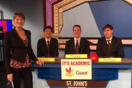 "On ""It's Academic,"" St. John's won against Banneker and Lake Braddock high schools. The show aired Feb. 24. (Courtesy Facebook/It's Academic)"