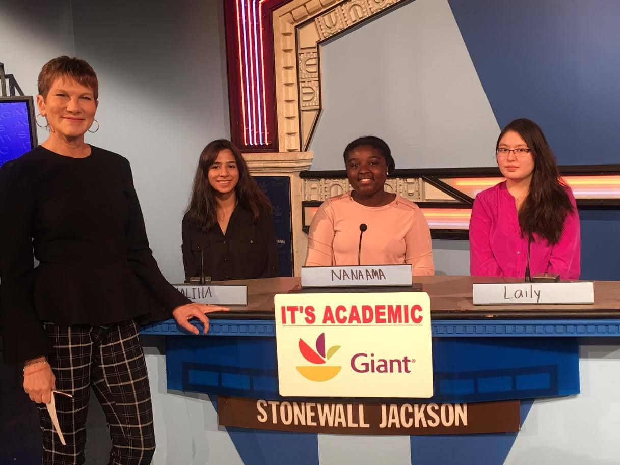 "On ""It's Academic,"" Stonewall Jackson competed against Walter Johnson and Georgetown Day. The show aired Dec.  30, 2017. (Courtesy Facebook/It's Academic)"