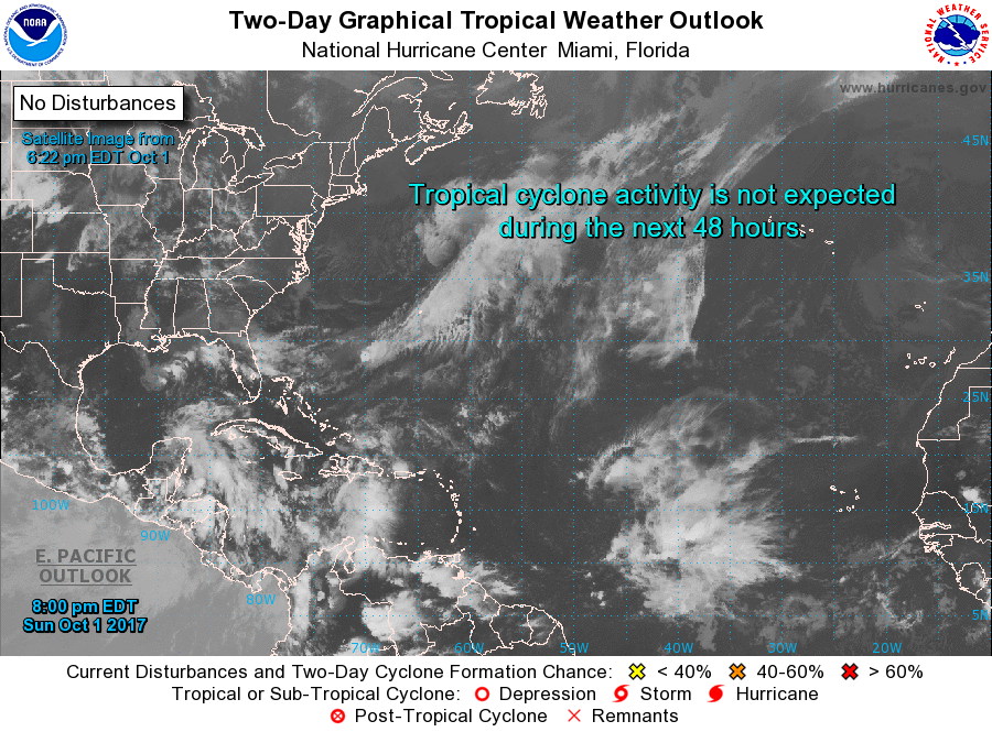 Also worthy of note, as of this article's publication, there is no active tropical activity in the Atlantic Ocean (National Hurricane Center/NOAA)