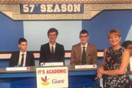 "On ""It's Academic,"" Washington Latin Public Charter won against Bowie and Loudoun County high schools. The show aired Oct. 7, 2017. (Courtesy Facebook/It's Academic)"
