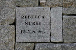 Rebecca Nurse was one of five women hanged as witches 325 years ago at Proctor's Ledge during the Salem witch trials who are being remembered in a noon ceremony at the site of their death, pictured here, Wednesday, July 19, 2017, in Salem, Mass. Sarah Good, Elizabeth Howe, Susannah Martin, Nurse and Sarah Wildes were hanged as witches on July 19, 1692. It was the first of three mass executions at the site on Proctor's Ledge. (AP Photo/Stephan Savoia)