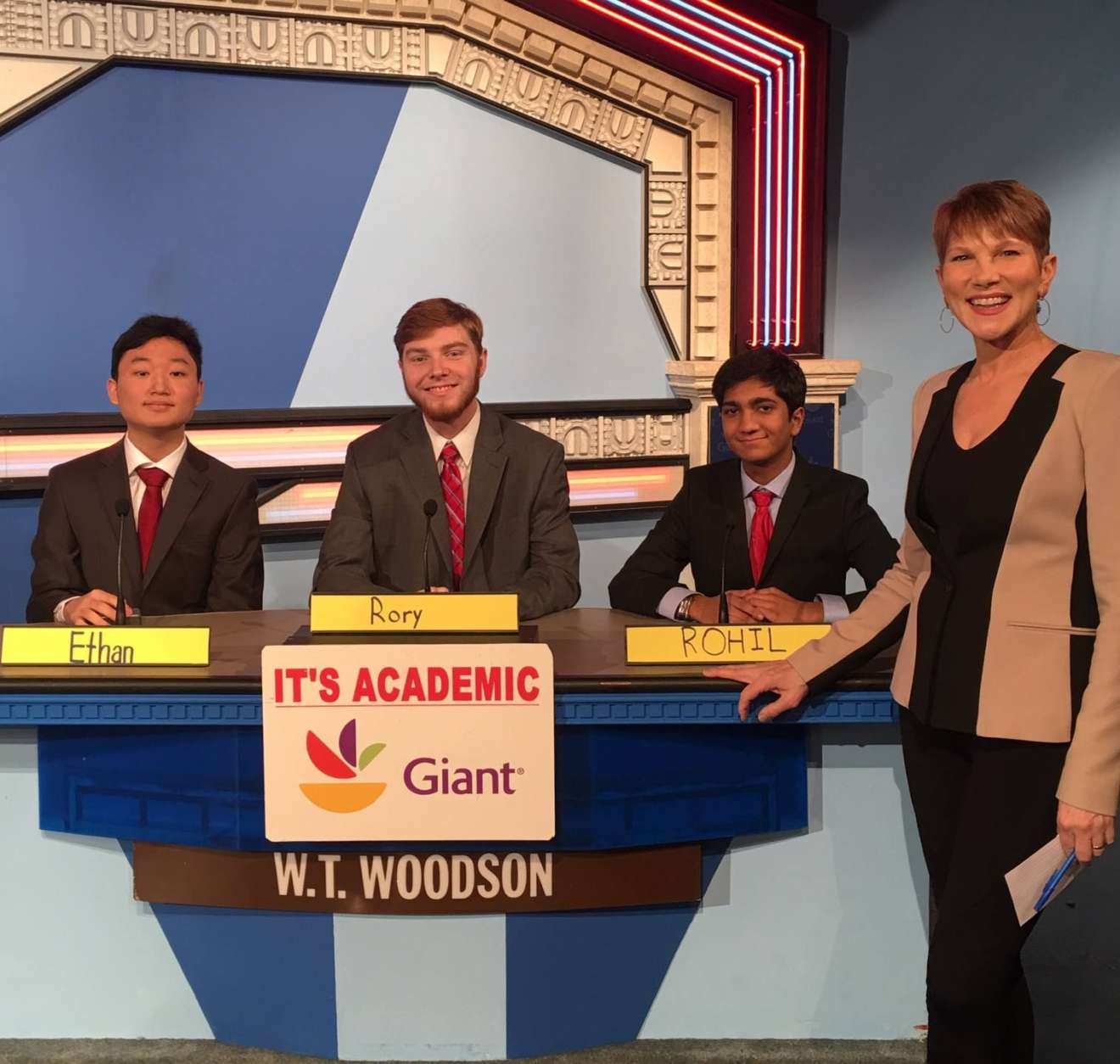 "On ""It's Academic,"" W.T. Woodson High School won against The Landon School and Quince Orchard High School. The show aired March 3, 2018. (Courtesy Facebook/It's Academic)"