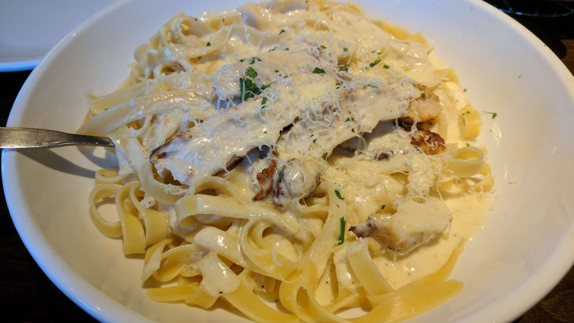 The meal: Cavatappi with fettuccine alfredo and grilled chicken. (WTOP/Brandon Millman)