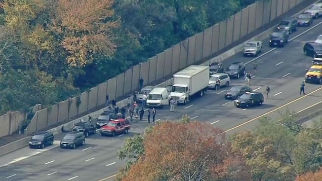 A view of the crash that resulted from a police pursuit of robbery suspects Friday afternoon. (Courtesy NBC Washington)