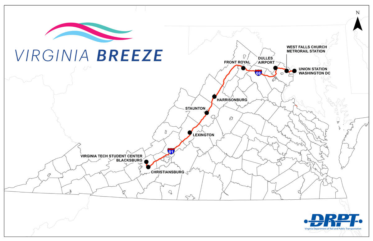 The route for the Virginia Breeze bus service, which launches Dec. 1. (Courtesy Virginia Department of Rail and Public Transportation)