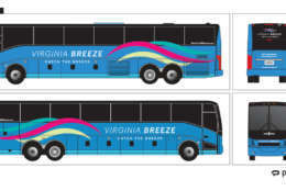 Renderings of the design of the Virginia Breeze bus (Courtesy Virginia Department of Rail and Public Transportation)