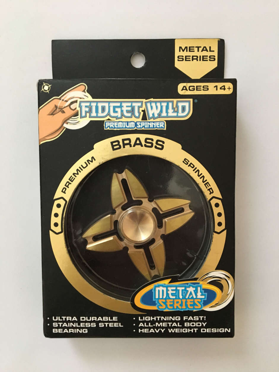 The Fidget Wild Premium Spinner Brass, which is distributed by Bulls i Toy, L.L.C., contained 300 times the legal limit for lead in children's products, according the group. While the packagin indicates the gadgets are intended for ages 14 and up, PIRG said it found them in the toy aisle. (Courtesy U.S. PIRG)