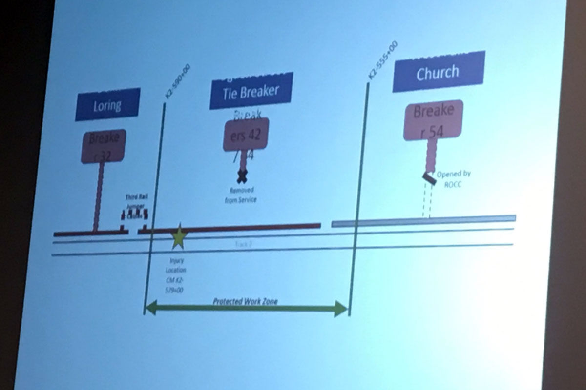 This slide shows why a Metro worker got shocked: the ROCC didn't fully cut power. (WTOP/Max Smith)