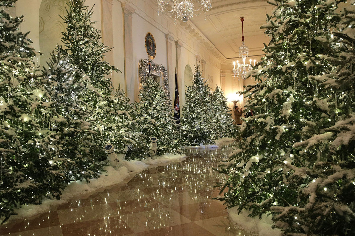 """WASHINGTON, DC - NOVEMBER 27:  The Cross Hall at the White House during a press preview of the 2017 holiday decorations November 27, 2017 in Washington, DC. The theme of the White House holiday decorations this year is """"Time-Honored Traditions.""""  (Photo by Alex Wong/Getty Images)"""